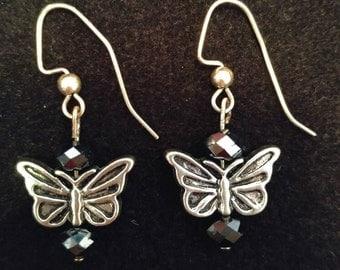 Blue Butterfly Mini Dangle Earrings