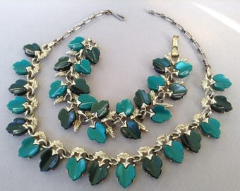 Silver Tone Teal Thermoset Grape Leaf Necklace and Bracelet Set