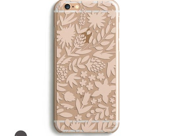 Flower iphone case, Flower iphone 6 case, flower phone case, blush iphone case, transparent iphone case, clear iphone 6s plus case, iphone