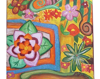 """Original signed """"Flower Heaven"""" contemporary oil painting by Maria Palma. 12 x 12 inch on hangable canvas"""