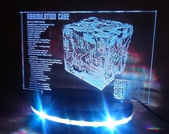 Star Trek inspired Borg assimilation cube Acrylic Light, Colour Changing 3D LED Desk Lamp, Faux Holographic Ship Diagram blueprint