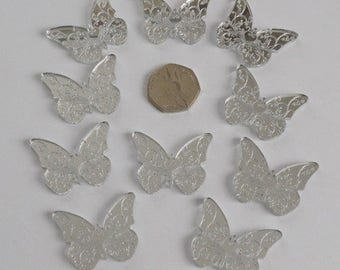 Floral Butterfly Mini Craft Sized Acrylic Mirrors (10Pk)