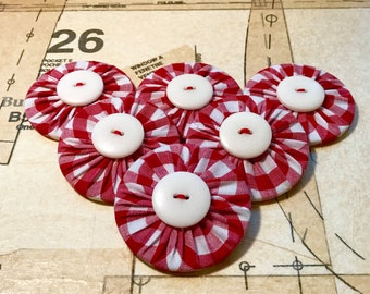 Red Gingham Pattern Weights Red & White Quilting Dressmaking Sewing Fabric Set of 6