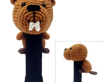 Hand Stitched Yarn Animal Driver/Wood Golf Head Cover - Beaver