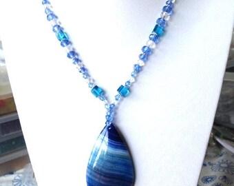Summer Blue Teardrop Agate Pendant Beaded Necklace