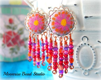Hand Painted Fabric Earrings, Pink/Red/Orange Glass Beaded Chandelier Earrings, Flower Earrings, Mixed Media Jewelry