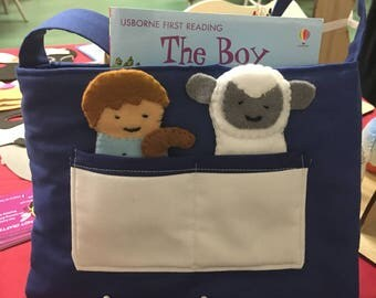 "Book bag with finger puppets - ""The boy who cried wolf"""