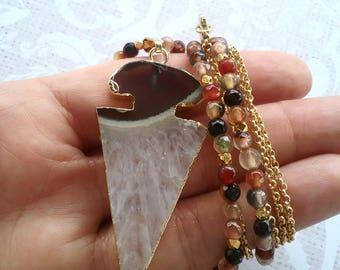 Arrowhead boho necklace, arrowhead beaded necklace, Quartz arrowhead necklace, brown boho necklace