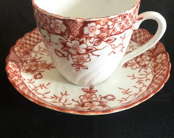 Red and white fluted and scalloped, tea cup and saucer c 1880- 90