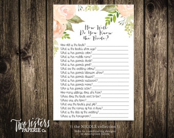 How Well Do You Know The Bride Game - NICOLE Collection - Printable Bridal Shower Game - Floral Watercolor Bridal Shower - Instant Download