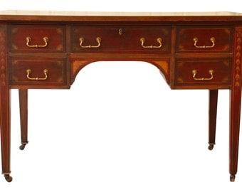 Antique Hepplewhite Inlaid Mahogany Partner Desk