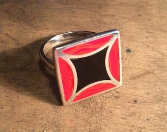 Silver Enamel Ring, Vintage Enamel Ring, Statement Ring, Geometric Ring, Retro Ring, Large Silver Ring, Red Enamel Ring, Vintage Ring