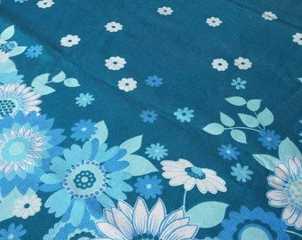 60s Mod Daisy Tablecloth // Retro Square Tablecloth // Blue and Turquoise