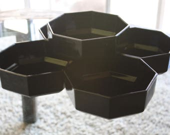 Set of 5 Black French Arcoroc Octime Bowls