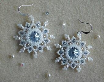 Beading Earring Tutorial, Beaded Pattern, Snowflake Earring Tutorial, Beadweaving, Swarovski Rivoli, Bicone, Winter, Christmas Earrings, PDF