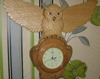 wall clock carved Owl