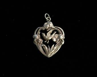 antique french dove iris heart pendant