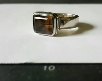 Smoky quartz sterling silver ring, size 8