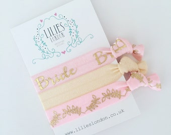 Bride hair ties, light pink hairbands, wedding gift, pretty ties, ponytail holders, hair tie gift set, gift for the bride, wedding bracelet