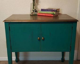 Turquoise & Wood Washed Entry Stand