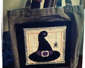 cross stitch witch hat tote