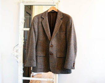 Vintage Men's 40 Short <> BOUNDARY WATERS by Dayton's Wool Tweed Sport Coat <> Suit Jacket Blazer Leather Buttons