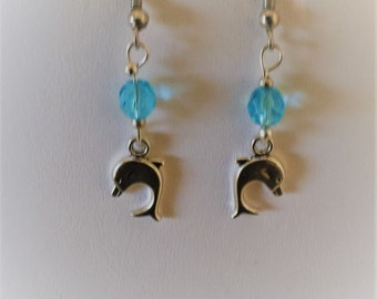Dolphin Silver Tone Pierced Earrings