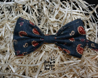 Navy Paisley Bow Tie,Wedding Bow Tie, Gift for Him, Gift for Dad,Men's Bow Tie, Boy's Bow Tie, Bow Tie For Men