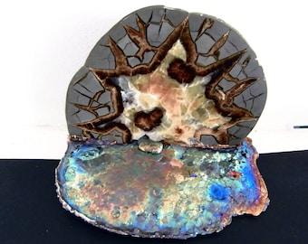 Septarian Nodule Slab in Bismuth  Decor Art  Alien Moon Rising over lake