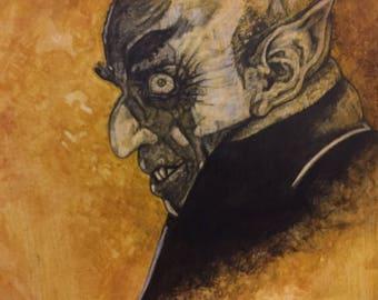 Nosferatu Mixed Media Painting Sketch. Vampire, Movie Monster.