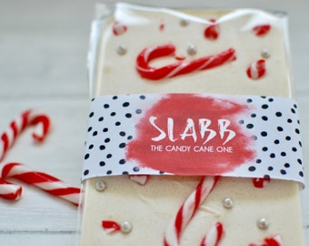 The Fully Loaded Candy Cane Slabb chocolate bar, stocking filler, chocolate lover, christmas gift, colourful, white chocolate, bark, treats