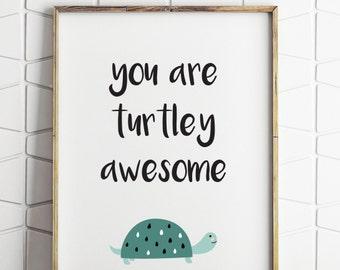 turtle decor, turtle printable, green turtle print, beach decor kids, childrens beach decor, kids beach art, digital poster