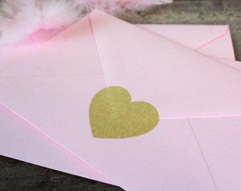 Sticker coeur couleur kraft autocollant scellage des enveloppes de faire-part mariage naissance love lot de 30 stickers