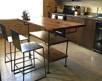 Industrial pipe and wood kitchen island || steel and wood island || kitchen table