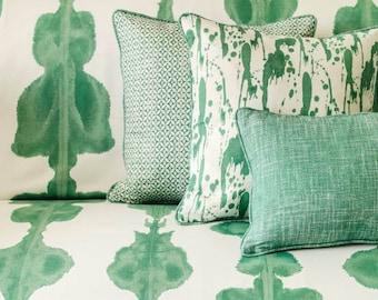 Green Cushion- Green and White- Emerald Green- Cushion Cover- Bright Green- Watercolour- Modern- Contemporary- Cushion Cover- Beach Retreat