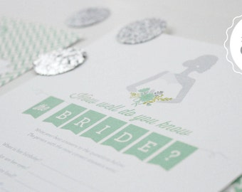 Printable Bridal Shower Games // 7 Games incl. Wishes for the Couple, Purse Game, Scattergories, Bridal Libs, World Scramble // Mint Green