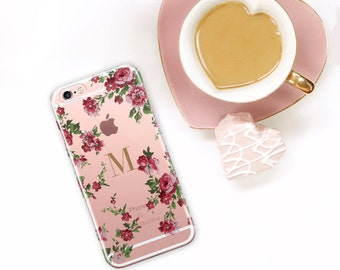iPhone 6S Case Clear Personalized Floral iPhone 7 Plus Monogram Flowers, Gift For Her, iPhone 7 Plus Case