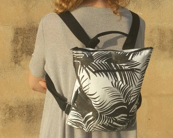 Vegan City backpack, palm tree design, black and white, eco friendly, washable paper, gift for mom, gift for her, Carry all Bag, OOAK