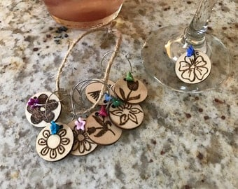 Woodburned Wine Charms Flowers