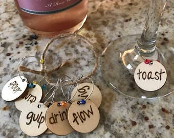 Woodburned Wine Charms Drinking Words