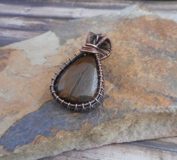Tiger's Eye Copper Wire Wrapped Pendant - Tiger Eye necklace- Tiger eye cabochon