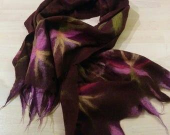 Unique Nuno felted Scarf Shawl Felted  Wool Silk
