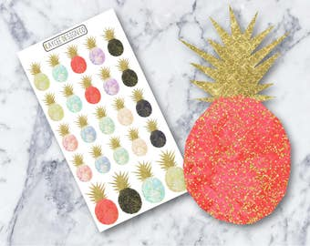 Glitter Pineapples / Planner Stickers / Hand Drawn / Doodle / Watercolor / Fits Erin Condren & MAMBI/ Filofax / Kikki K / Scrapbook
