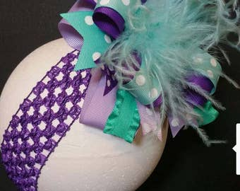 Purple, Aqua, Teal, & Lavender Over The Top Boutique Hairbow Ostrich Feather