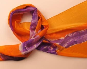 Abstract lilac scarf. Hand painted silk shawl. Orange scarf. Beautiful art. Long elegant scarf. Purple flower shawl. Woman accessory.