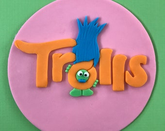 Trolls Movie Inspired Cake Topper-Fondant