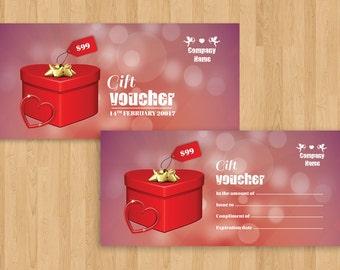 Valentine Day Gift Voucher    Multipurpose Voucher template   Photoshop & Elements Template   Instant download