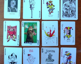 Collection of Twelve (12) Vintage Playing Cards/Swap Cards all JOKERS/CLOWNS/JESTERS [Lot A3] - All different!