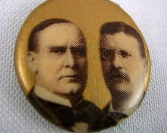 SaLe! 1900 Wm McKinley + Teddy Roosevelt Political Campaign Presidency, Celluloid Pinback Button, Original Back Paper Whitehead & Hoag