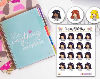 Lady D Angry Girl Planner Sticker Sheet